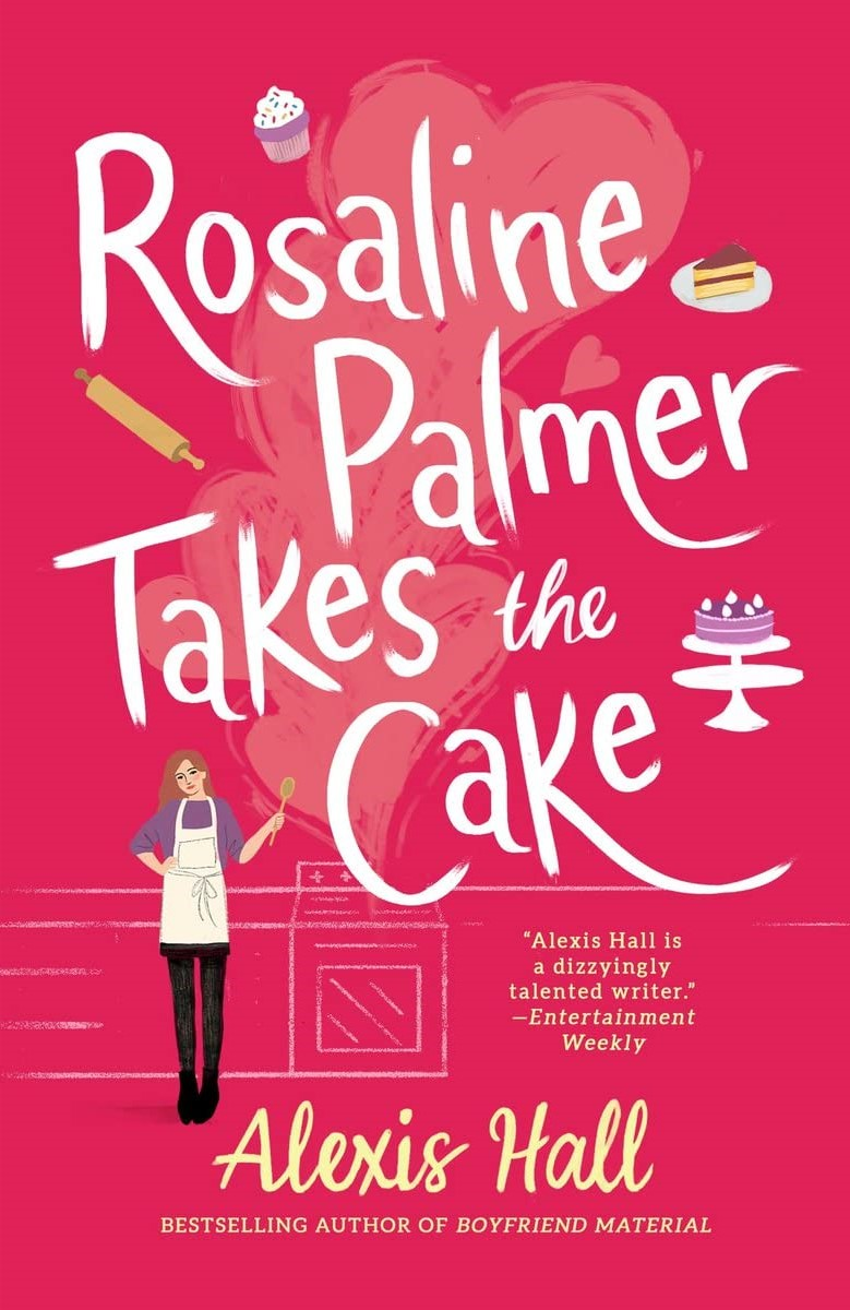 The cover of ROSALINE PALMER TAKES THE CAKE is pinkish-red and features an apron-wearing femme holding a wooden spoon standing in front of a chalk-sketch style cooktop.