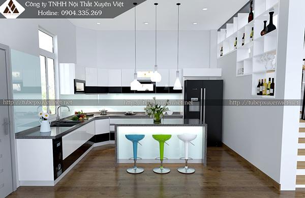 Mẫu tủ bếp đẹp bằng nhựa hình 6