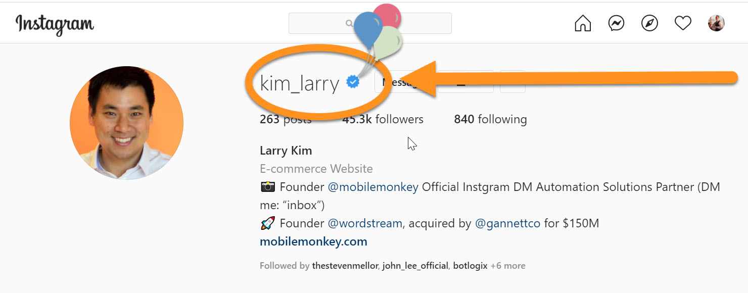 how to get verified on Instagram: Larry Kim's blue checkmark