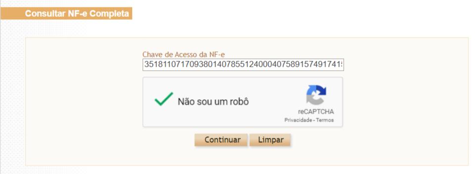 Acesso permitido da Sefaz para consultar XML após autenticação por recaptcha