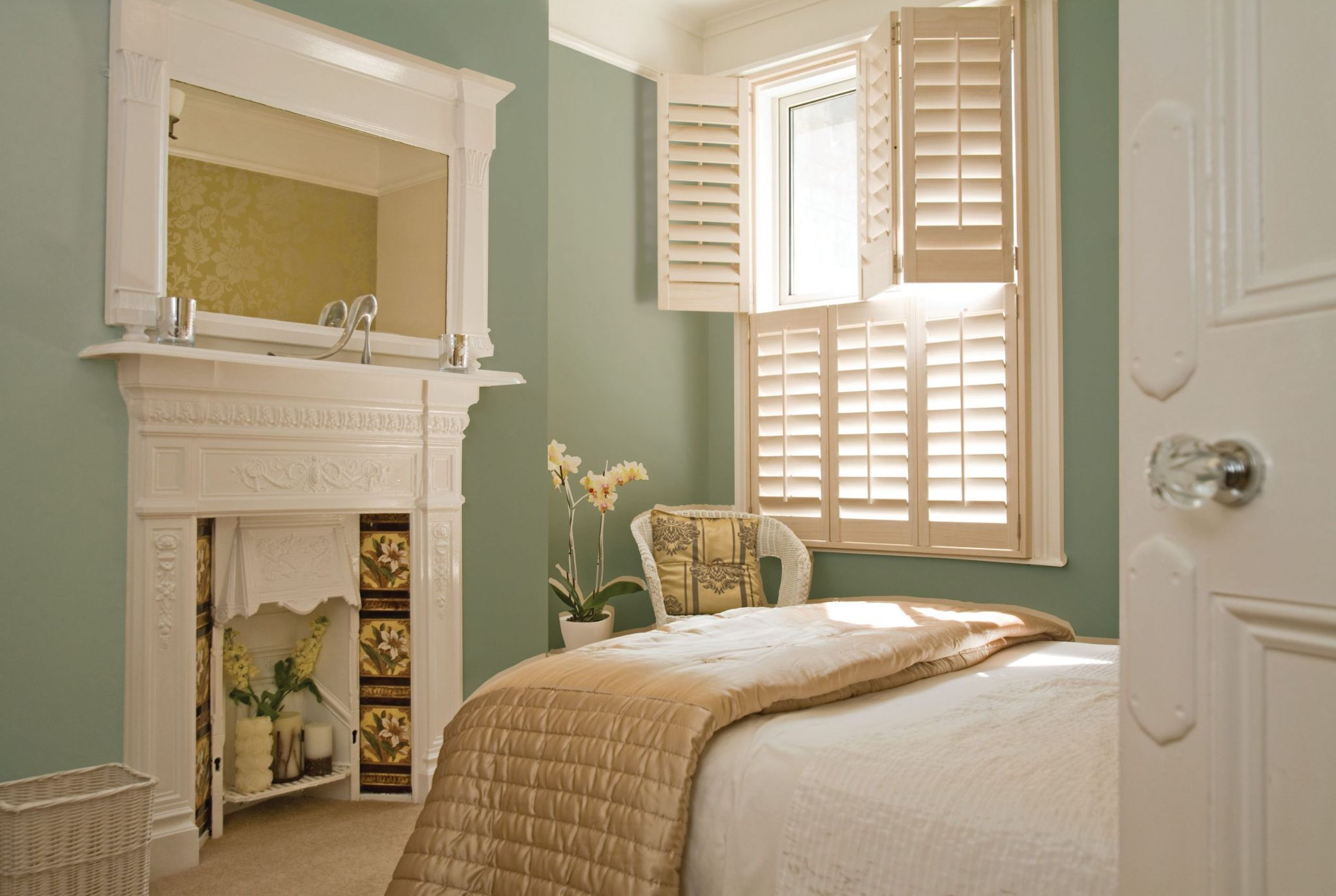 Bedroom Window Treatment Ideas with Classic Shutters