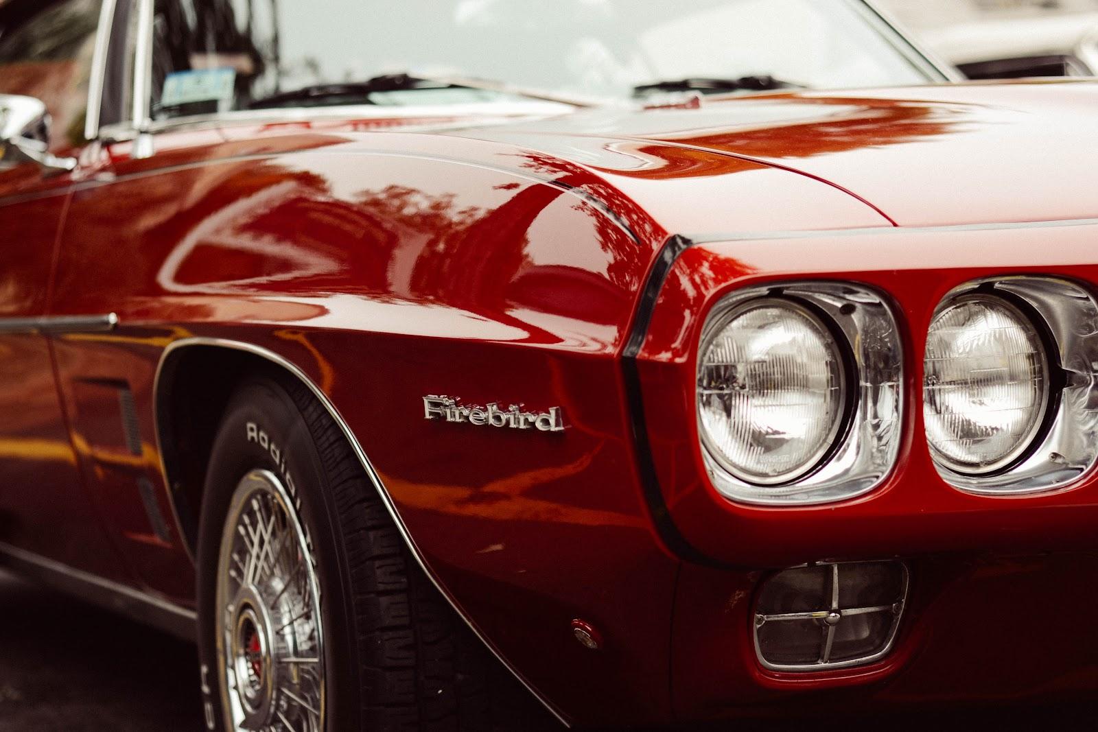 Classic red firebird car
