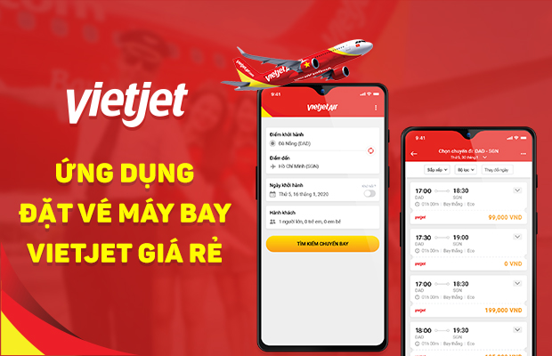 App đặt vé máy bay Vietjet nhanh chóng, giá rẻ