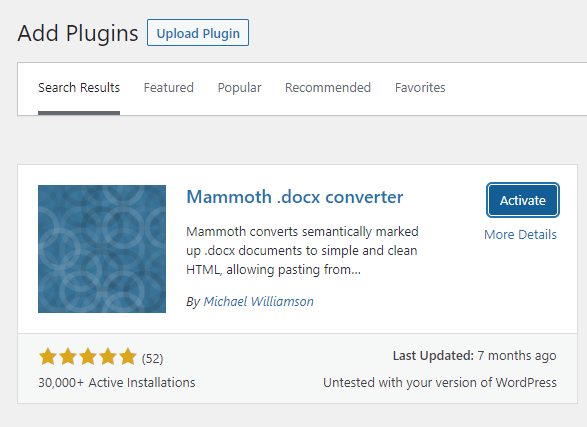 The Mammoth .docx converter plugin is shown in the WordPress plugin library.