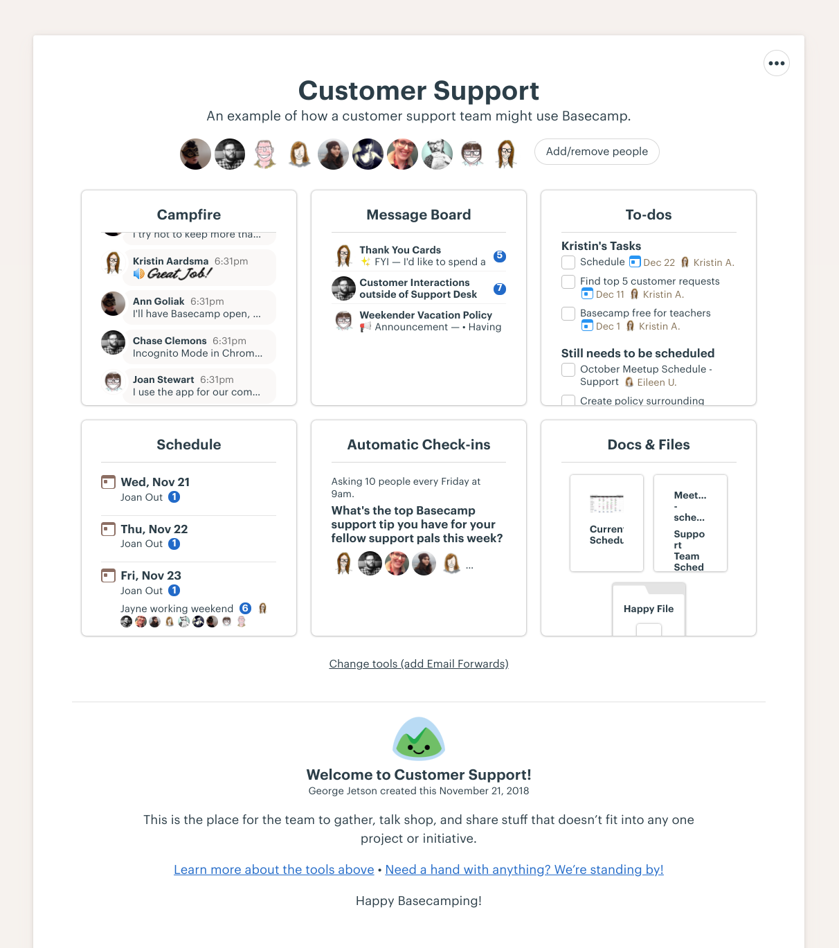 Basecamp's project page