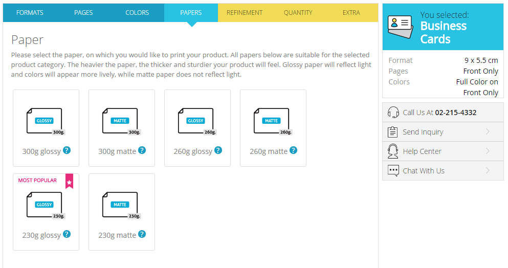 Choice of paper weight in Gogoprint's configurator
