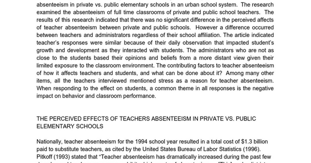 Absenteeism dissertation questionnaire
