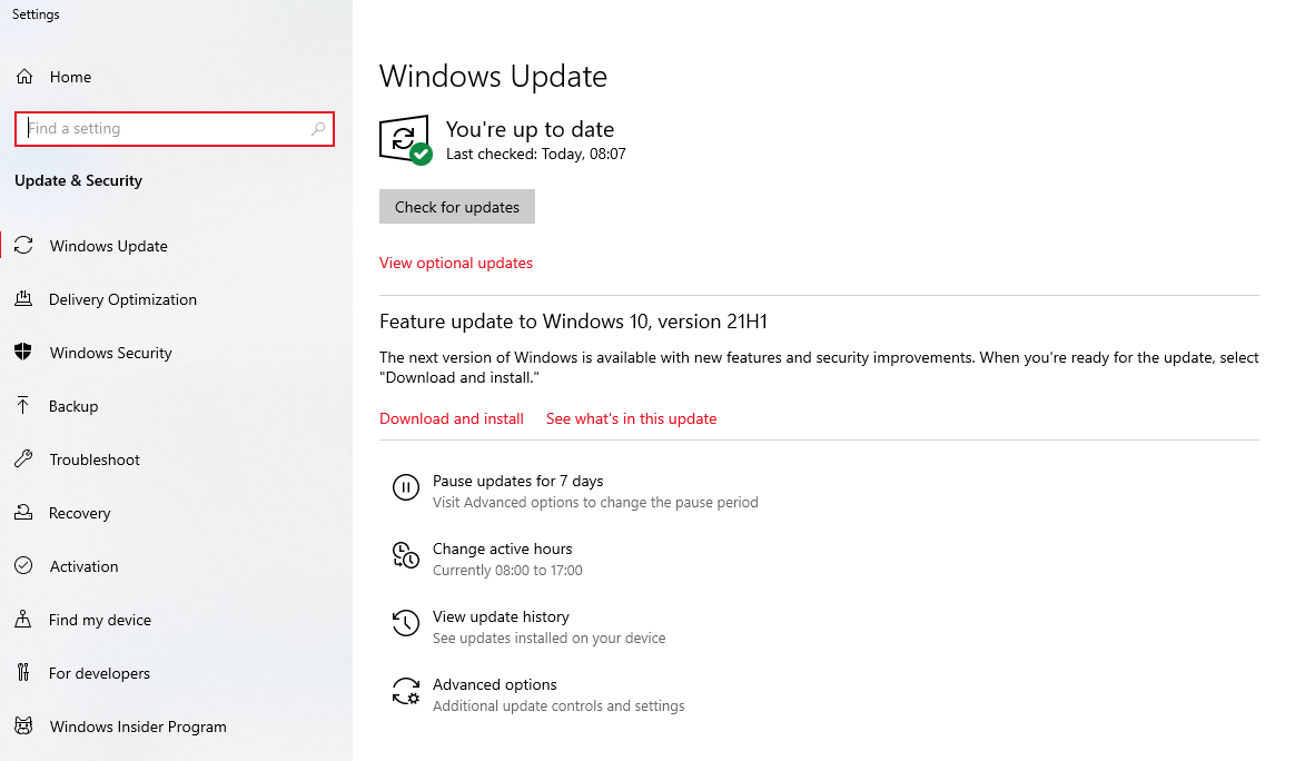 """Navigate to the Start menu and then type """"Update"""" in the search bar."""