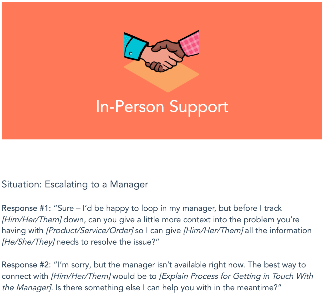 in-person support template from HubSpot