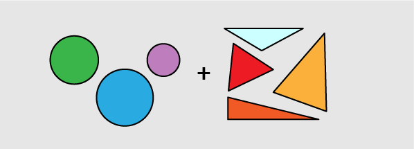 circles (1 blue, 1 purple, and 1 green) + triangles (1 red, 1 orange, 1 yellow, and 1 light blue)