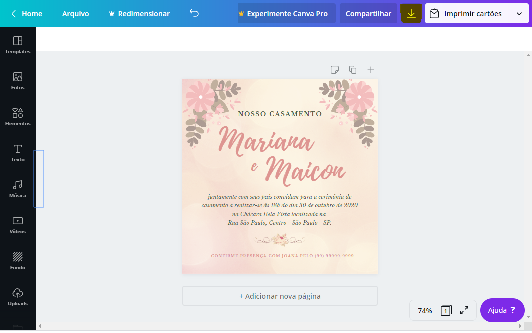 Salvar Convite Canva
