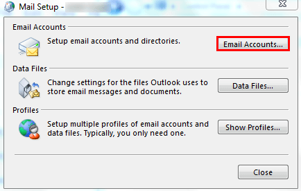 Email tab in the Account Settings