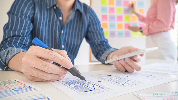 mobile game UI design - scrum - pen and paper