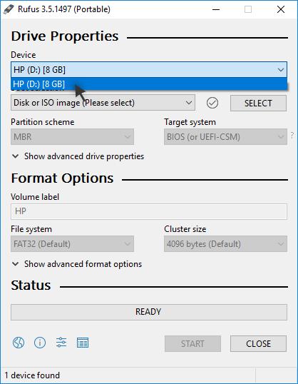 Rufus: Selecting the correct USB drive