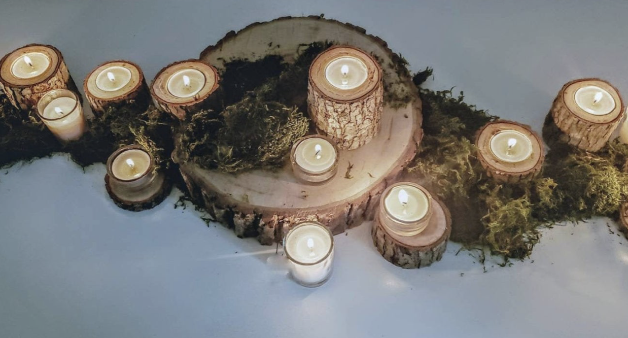 simple log candle holders for wedding table decor
