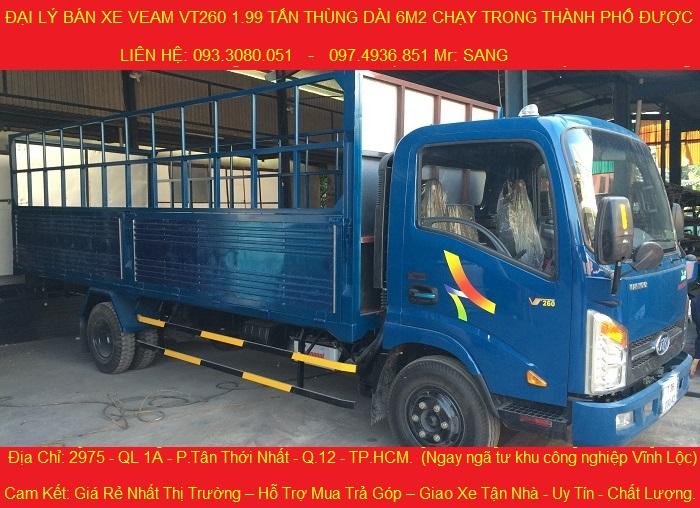 Cần bán xe tải veam vt260 giá tốt nhất, xe tải veam 2 tấn thùng dài 6m2.