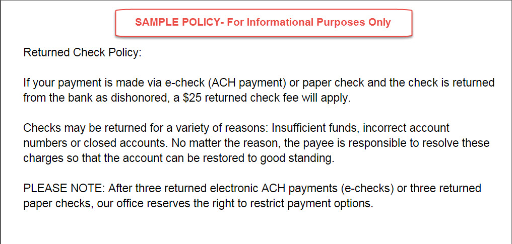 posted payment report generator a bank eft transaction was  for this reason we recommend that your office have a written returned check policy in place here is an example