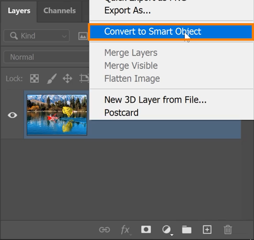 Right-click on the image layer and select Convert to Smart Object.