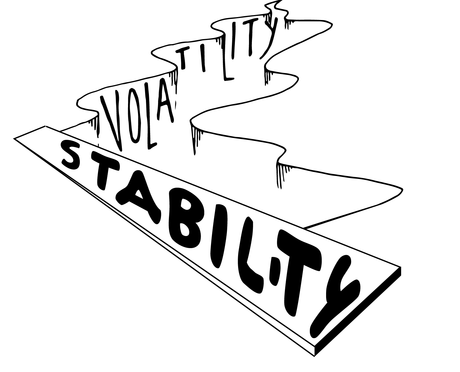 A chasm of volatility crossed only by a plank labeled stability.