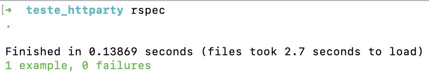a imagem mostra que o comando mostra que o resultado do teste com HTTParty e Rspec passou e que ele foi executado em menos de um segundo.