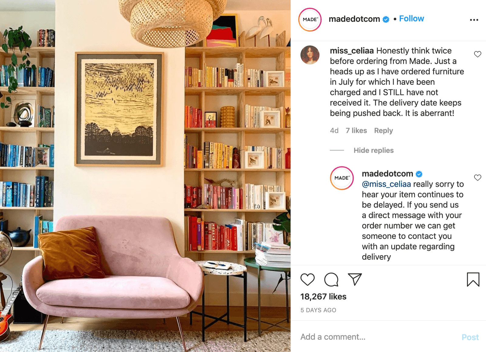 madedotcom Instagram business page
