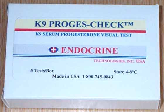 The K9 Proges-Check test kit for measurement of progesterone in canine serum (Endocrine Technologies, Inc., Newark CA).