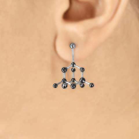 Diamond Molecule - 3D Unique Silver Earring by Aliame