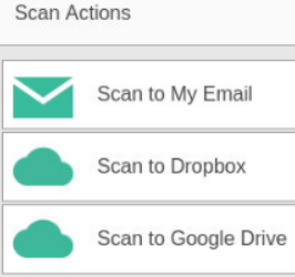 Scanning template options dropdown: green envelope labeled Scan to My Email, green cloud with Scan to Dropbox, green cloud with Scan to Google Drive