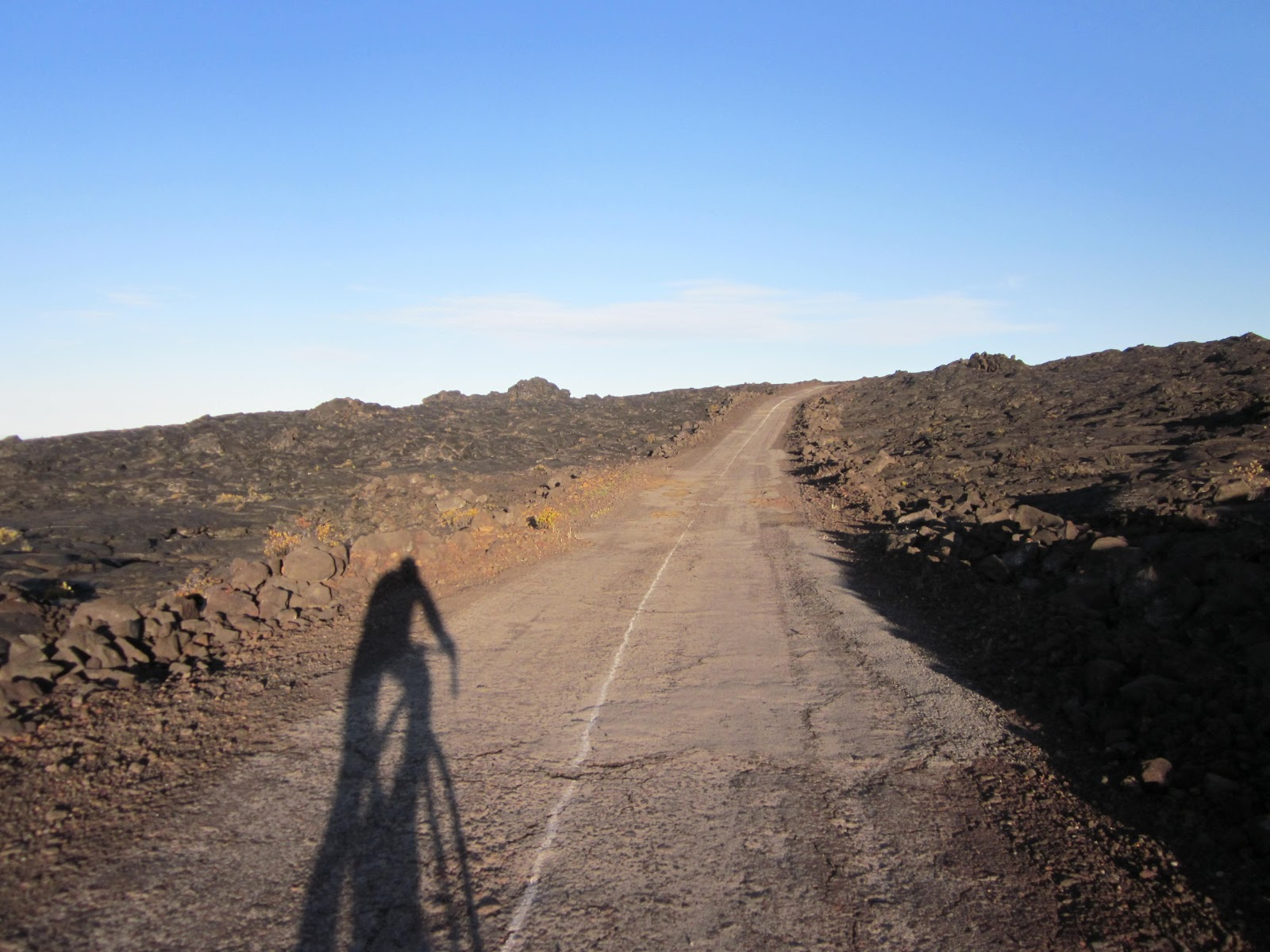 Cycling Mauna Loa Observatory Road in poor condition 2011
