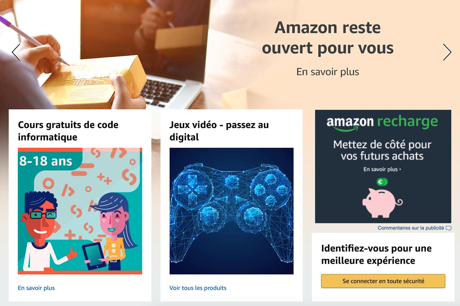 Page d'accueil Amazon actualisée pour le Covid19