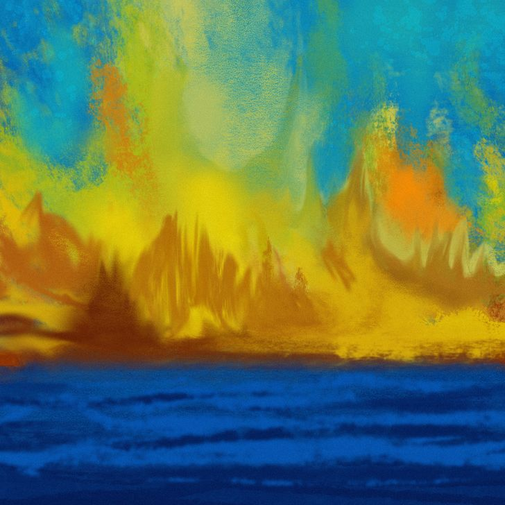 abstract yellow and blue artwork