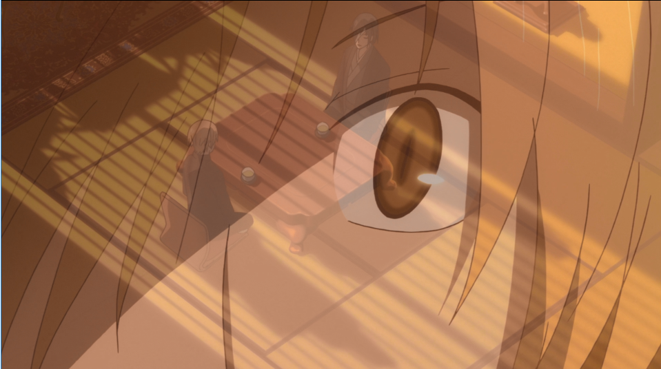 Close-up of Natsume's surprised eye, super-imposed over an image of two people sitting at a table