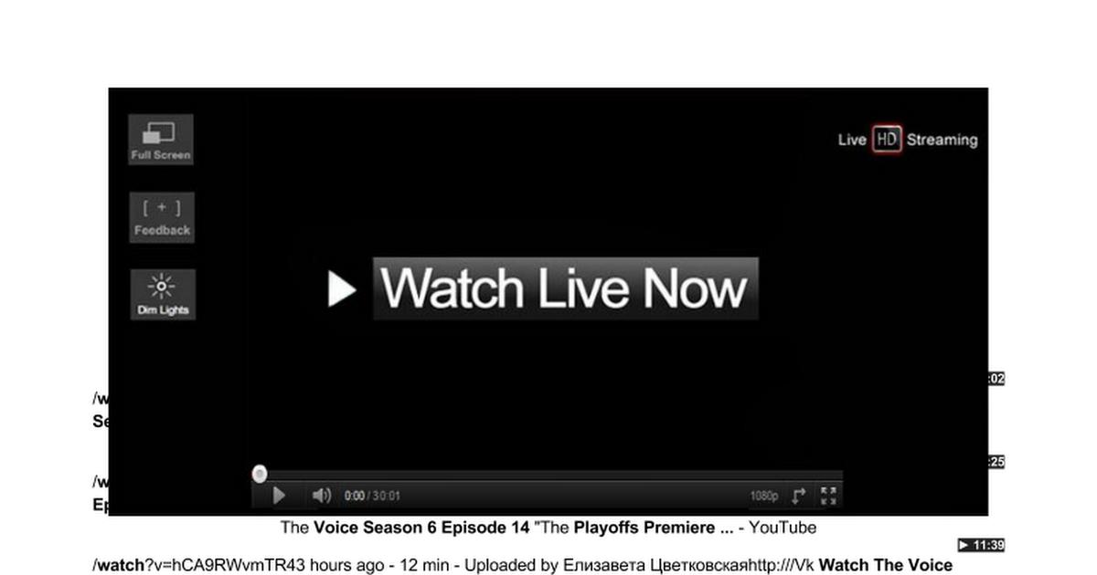 w a t c h The Voice Season 6 Episode 14 o n l i n e The