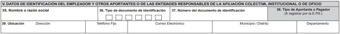 Datos de identificación del empleador y otros aportantes o entidades