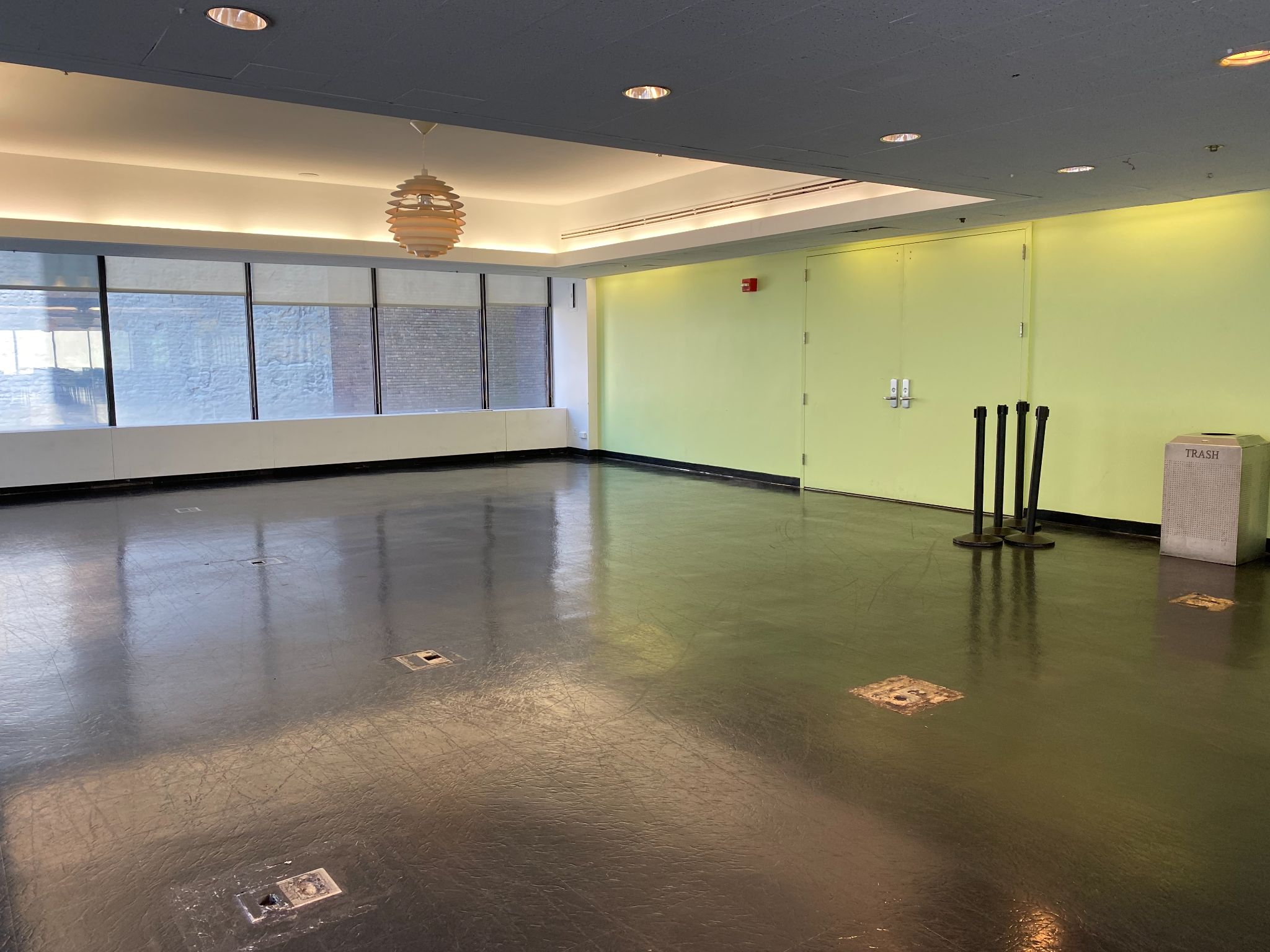 Hunter College cafeteria. Empty area of the windowed room.