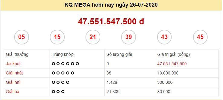 Kết quả JP Mega 6/45 kỳ quay ngày 26/7/2020