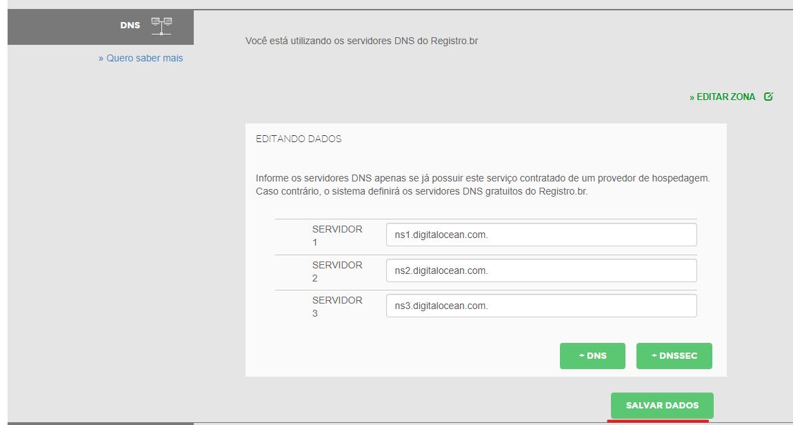 Adicionando servidores DNS da DigitalOcean ao registro.br