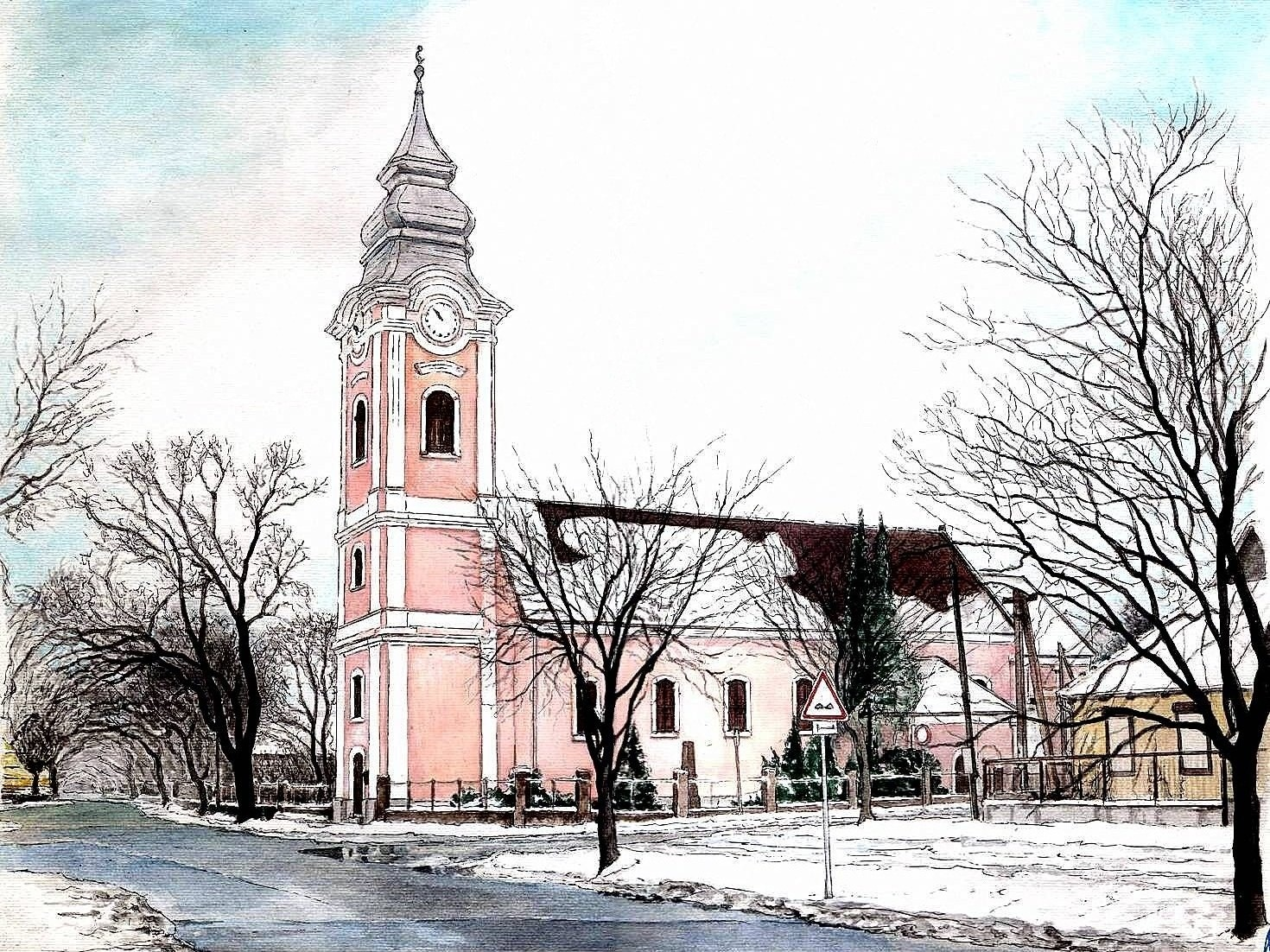 REFORMED CHURCH IN THE MEZŐKERESZTES CITY I - Illustration (landscape), MMXII - Ink and gouache on carton - 11,81 X 16,54 in.jpg