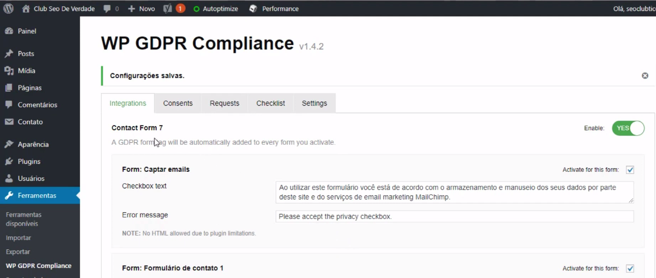 plugin WP GDPR Compliance.