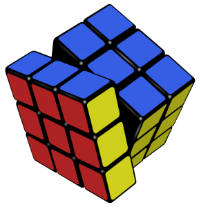 The set of permutations of a Rubik's Cube is considered an algebraic group.