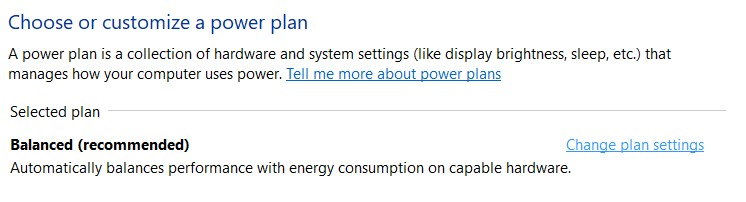 The Power Plans settings in the Control Panel