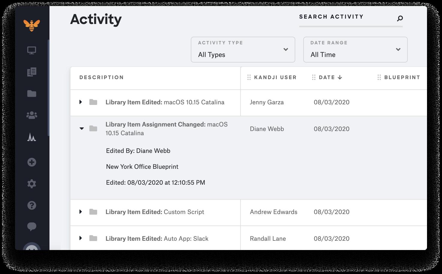kandji Library Item Activity Tracking