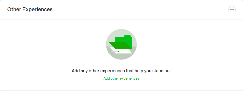 This is the Upwork profile section that shows where you can add your related freelance experiences