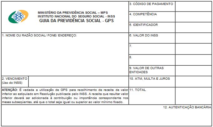 imagem da guia da previdência social - formulário