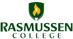 Logo of Rasmussen College online pharmacy technician training program