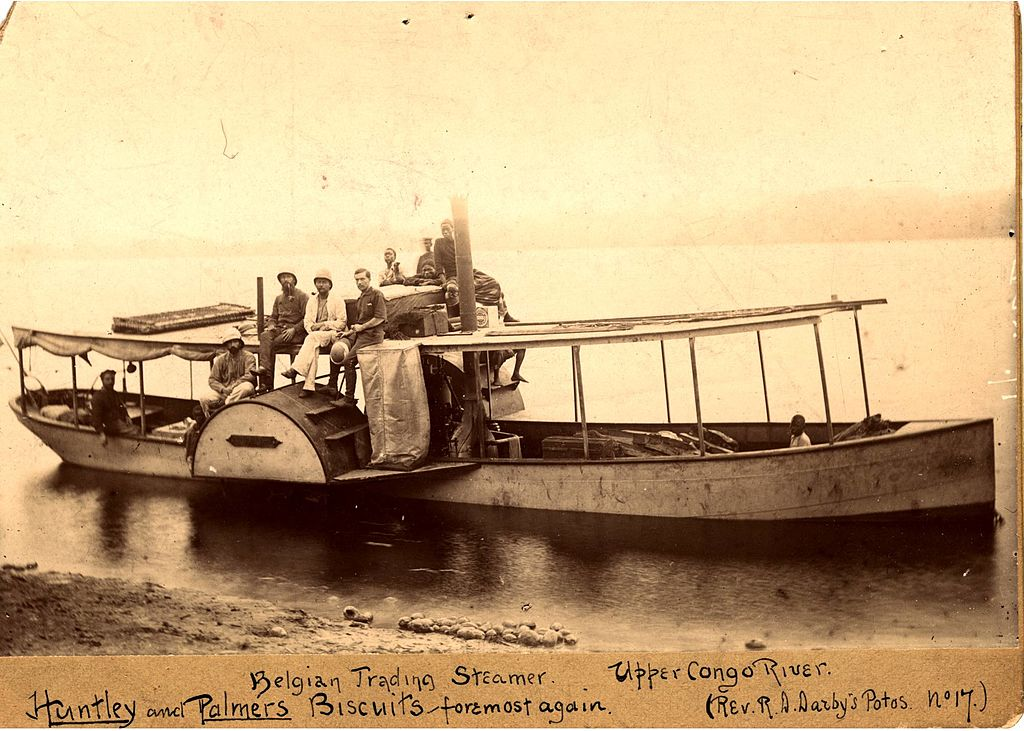 Photograph of a small steamship in the Belgian Congo.