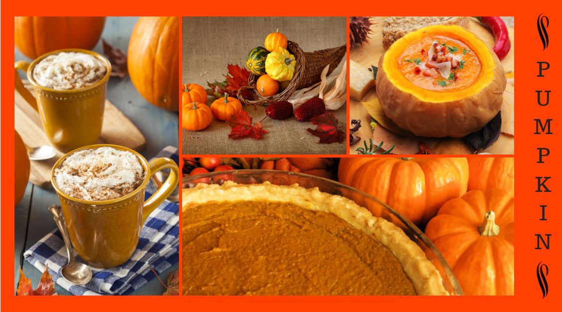 multiple images of pumpkin desserts: pumpkin latte, pumpkin pie, pumpkin soup, and a cornacopia with miniature pumpkins and acors