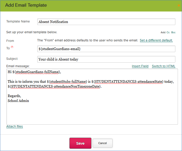 Absent Email Notification (Beta) – QuickSchools Support