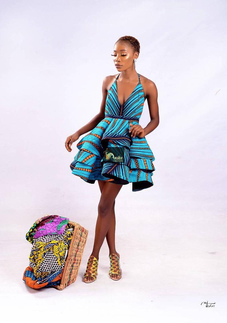 African print skater dress