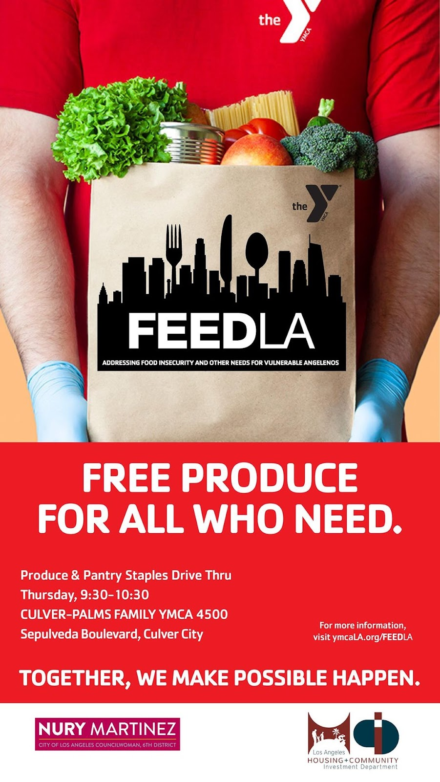 "Person holding bag of groceries ""FeedLA"" Free Produce to All Who Need"